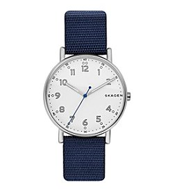 Skagen Men's Signature Watch In Stainless Steel With Nylon Leather Backed Strap