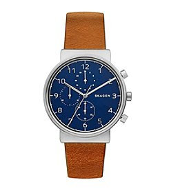 Skagen Men's Ancher Chronograph In Stainless Steel With Leather Strap And Dial