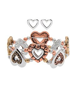 L&J Accessories Heart Stretch Bracelet And Earring Set