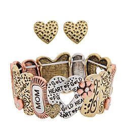 L&J Accessories Mom Heart Links Stretch Bracelet And Earring Set