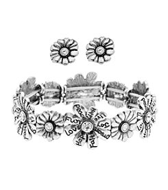 L&J Accessories Flower Stretch Bracelet And Earring Set