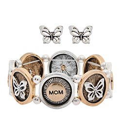 L&J Accessories Butterfly Sretch Bracelet And Earring Set