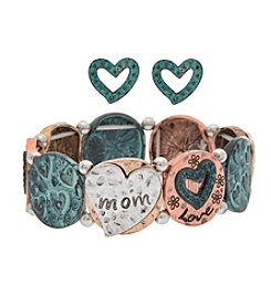 L&J Accessories Patina Mom Heart Links Stretch Bracelet And Earring Set