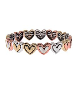 L&J Accessories Antiqued Heart Links Stretch Bracelet