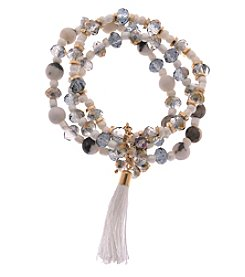 L&J Accessories Three Row Genuine Stone Stretch Bracelet With Tassel