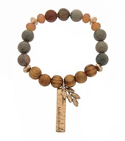 L&J Accessories Natural Genuine Stone Stretch Bracelet With Charm