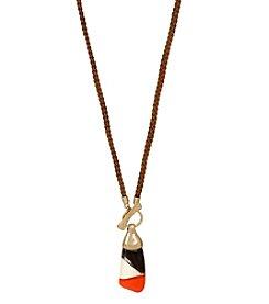 Robert Lee Morris Soho™ Color Blocked Sculptural Pendant Long Braided Necklace