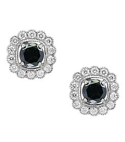Effy® 14K White Gold White And Black Diamond Earrings