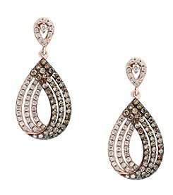 Effy® 14K Rose Gold .78 ct. t.w. Diamond And Espresso Diamond Earrings