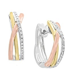 Effy® Tri Tone 14K Gold Diamond Earrings