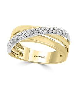 Effy® 14K White & Yellow Gold Diamond Ring