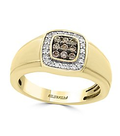 Effy® 14K Yellow Gold White And Espresso Diamond Ring