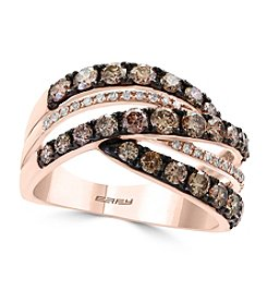 Effy® 14K Rose Gold White And Espresso Diamond Ring