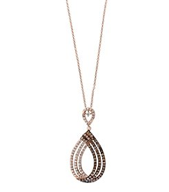 Effy® 14K Rose Gold White And Espresso Diamond Pendant