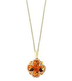 Effy® 14K Yellow Gold Diamond And Citrine Pendant
