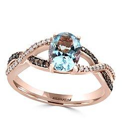 Effy® 14K Rose Gold 0.18 ct. t.w. Diamond And Aquamarine Ring