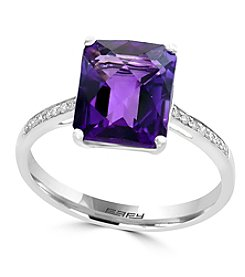 Effy® 14K White Gold 0.06 ct. t.w. Diamond And Amethyst Ring