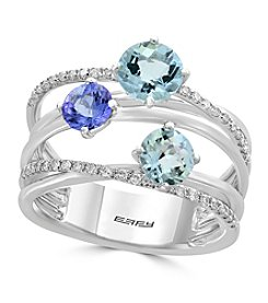 Effy® 14K White Gold Diamond, Aquamarine And Tanzanite Ring