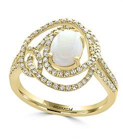 Effy® 14K Yellow Gold 0.47 ct. t.w. Diamond And Opal Ring