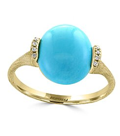 Effy® 14K Yellow Gold Diamond And Turquoise Ring
