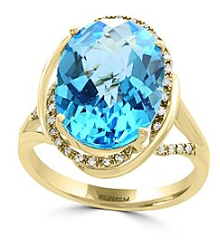 Effy® 14K Yellow Gold Diamond And Blue Topaz Ring