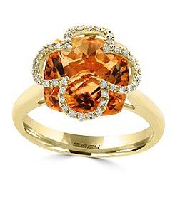 Effy® 14K Yellow Gold Diamond And Citrine Ring