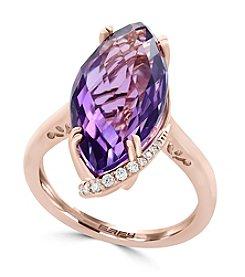 Effy® 14K Rose Gold .14 ct. t.w. Diamond And Amethyst Ring