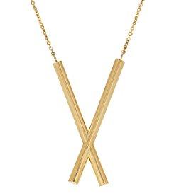 14K Yellow Gold Polished X Designed Necklace