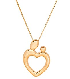 14K Yellow Gold Polished Heart Mother's Love Necklace