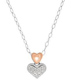 Sterling Silver And 10K Rose Gold Heart 0.04 Ct. T.W. Diamond Pendant