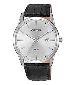 Citizen® Men's Quartz Case And Black Leather Strap Watch