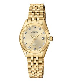 Citizen® Goldtone Crystal Index Watch