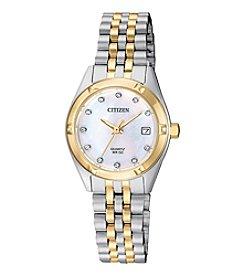Citizen® Women's Two Tone MOP Crystal Watch