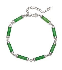 Sterling Silver & Jade Link Bracelet