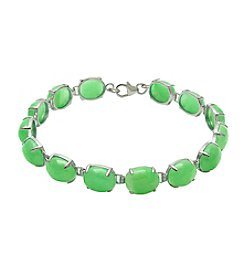 Sterling Silver & Oval Cabochon Jade Bracelet