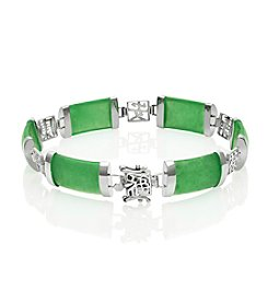 Sterling Silver Chinese Character & Jade Bracelet