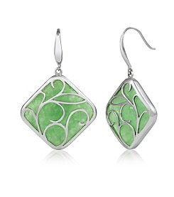 Sterling Silver Leaf Design & Jade Earrings