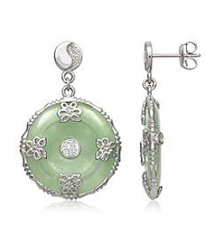 Sterling Silver Jade Disc Earrings