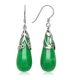 Sterling Silver Jade Teardrop Earrings