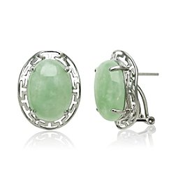 Sterling Silver Greek Key & Jade Oval Cabochon Earrings