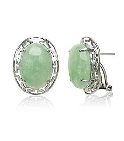 Sterling Silver Greek Key & Jade Oval Cabochon Earrings