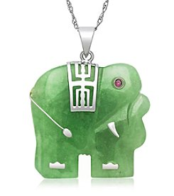 Sterling Silver & Jade Elephant Pendant Necklace