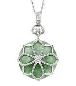 Sterling Silver Flower Design & Jade Pendant Necklace