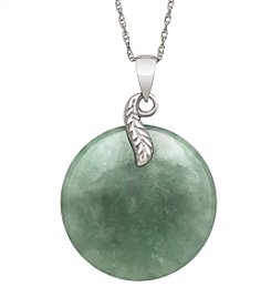 Sterling Silver Leaf & Jade Disc Pendant Necklace