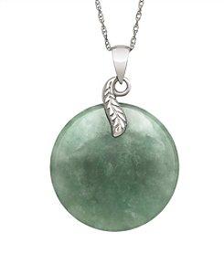 Sterling Silver Leaf & Jade Disc Pendant Necklace