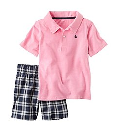 Carter's® Boys' 2T-7 2-Piece Polo & Plaid Short Set