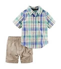 Carter's® Boys' 2T-4T 2-Piece Button-Front Shirt & Cargo Shorts Set
