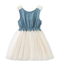 Calvin Klein Jeans Girls' 2T-6X Denim Crochet Dress with Tulle Skirt