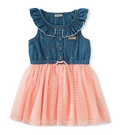 Calvin Klein Jeans Girls' 2T-6X Denim Bodice Tulle Dress