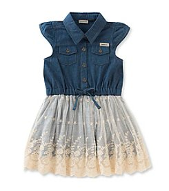 Calvin Klein Jeans Girls' 2T-6X Lace Overlay Skirt Dress